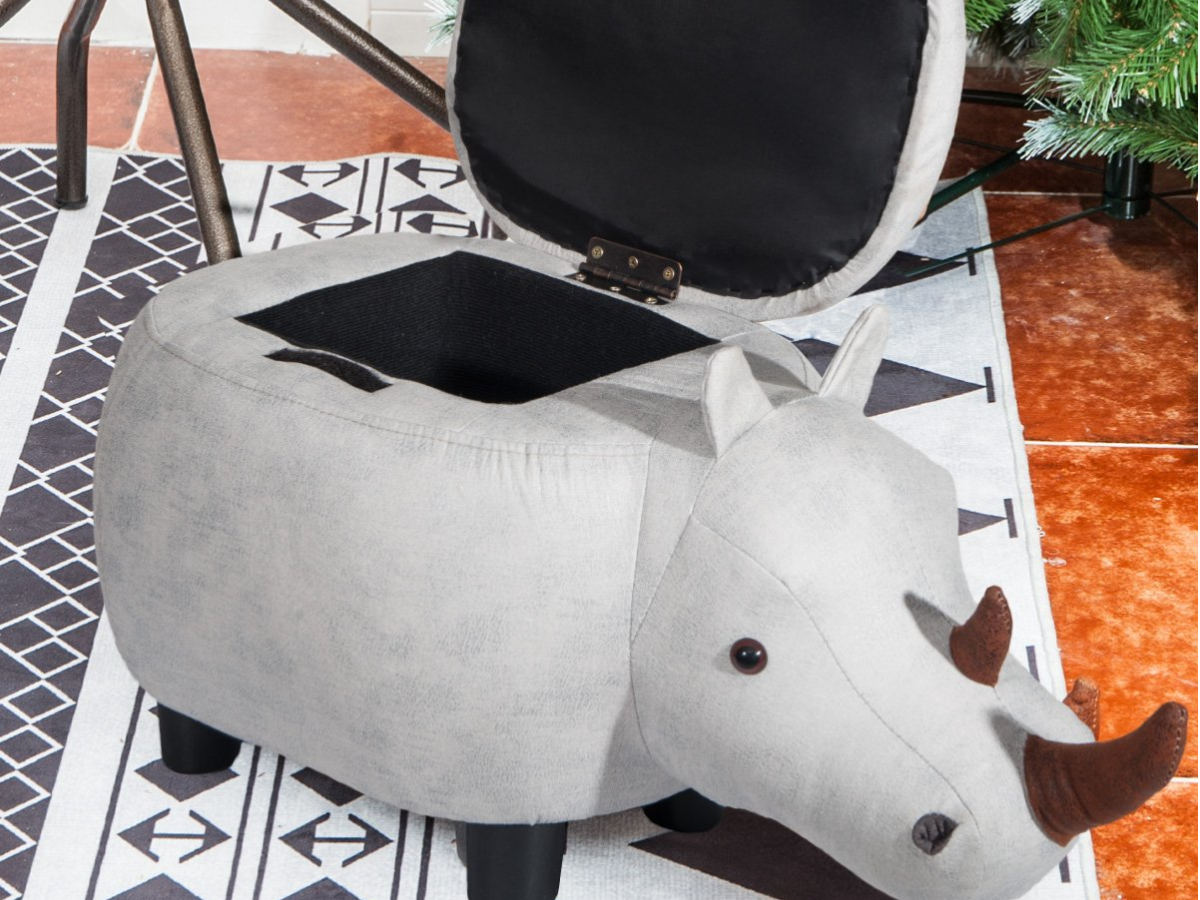 Grey Rhinoceros Animal Storage Ottoman Footrest Stool with lid opened in room on black and white carpet