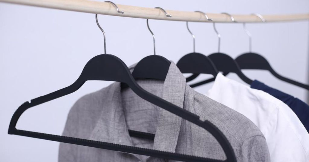 HDX Black Extra Non-Slip Hangers with clothes hanging up