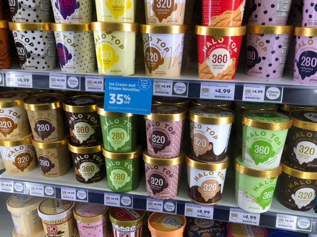 ice cream stacked in store freezer