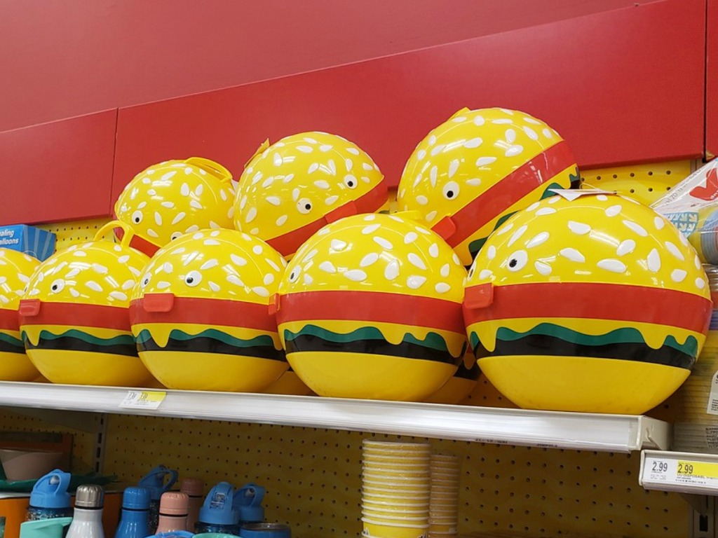 big plastic hamburger on store shelf