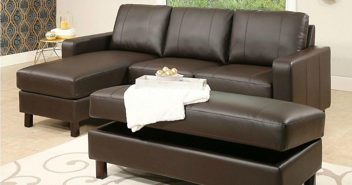Leather Reversible Sectional And Storage Ottoman Only 399