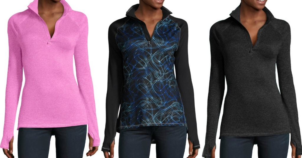 Three zip-up jackets from Hanes in a variety of prints and colors