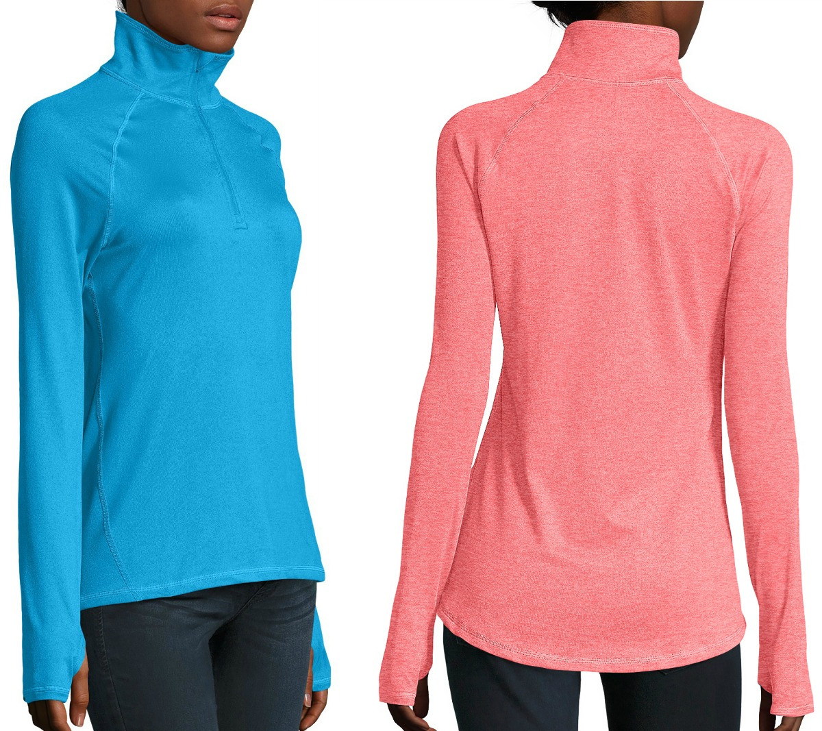 Women wearing hanes jackets in blue and pink colors