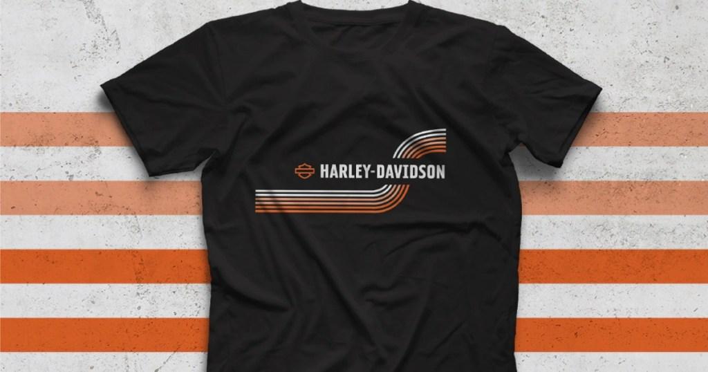 Harley Davidson T-Shirt with retro stripe design