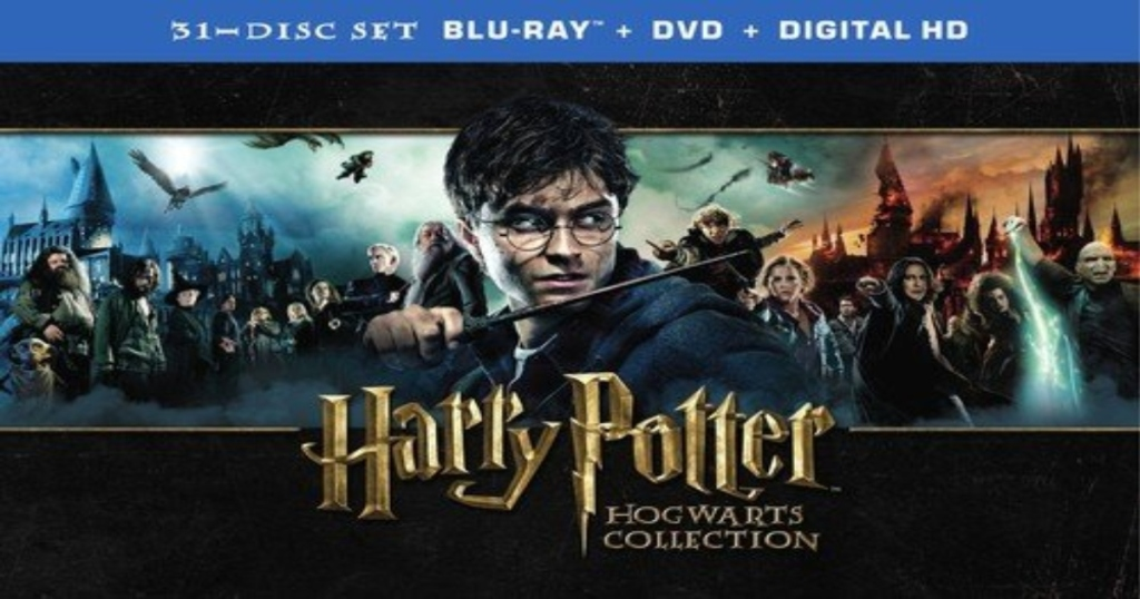 Harry Potter, Hogwarts collection. Cover of the 31 disct set with Harry Potter front and all characters in the background.