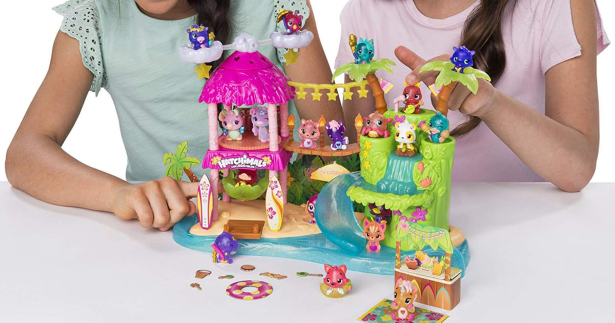 girls playing with Hatchimals CollEGGtibles Season 4 Tropical Party Playset