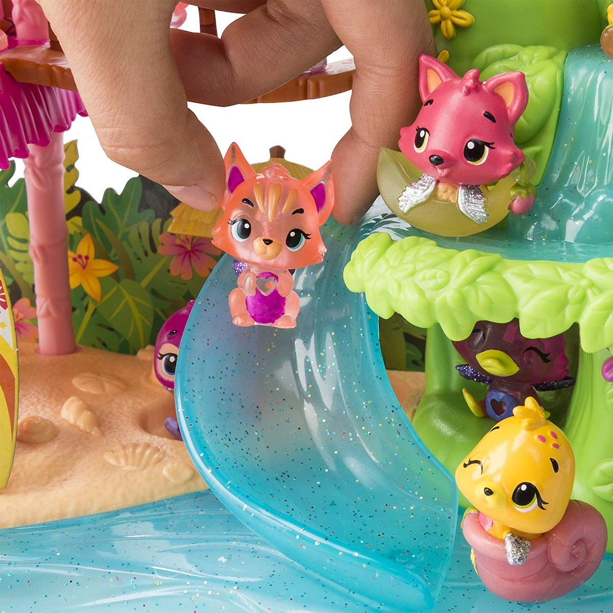 hand holding character in Hatchimals CollEGGtibles Season 4 Tropical Party Playset