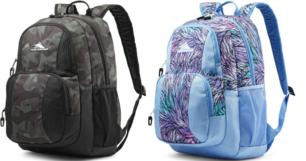 shattered camo backpack and feathered backpack