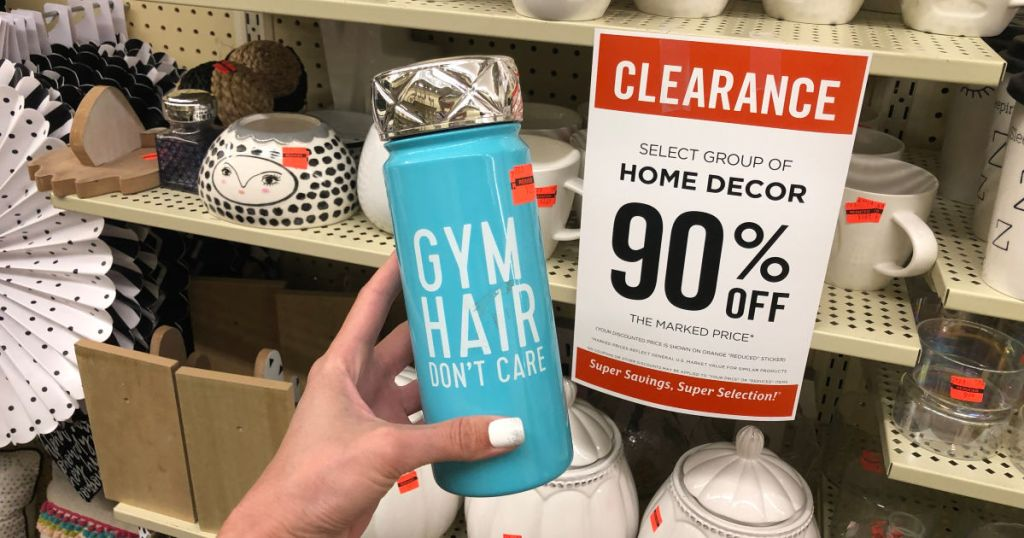 Hobby Lobby 90% off Sign with bottle saying gym hair dont care