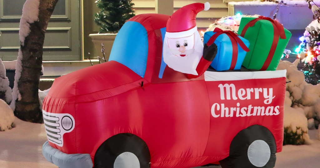 Holiday Time Airflowz™ 5.5 ft. Inflatable Santa in Red Truck Quick & Easy Set-Up