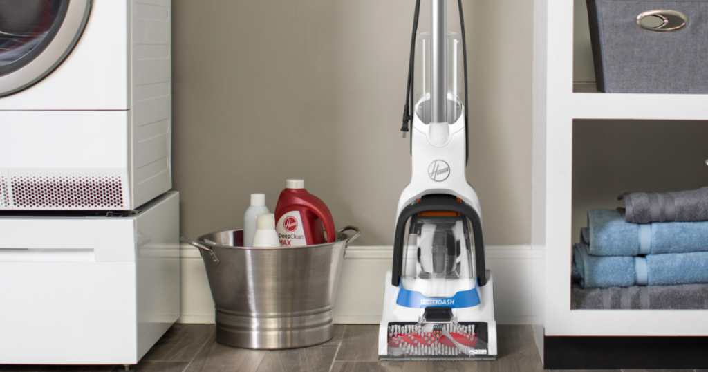 Hoover PowerDash Pet Carpet Cleaner in laundry room