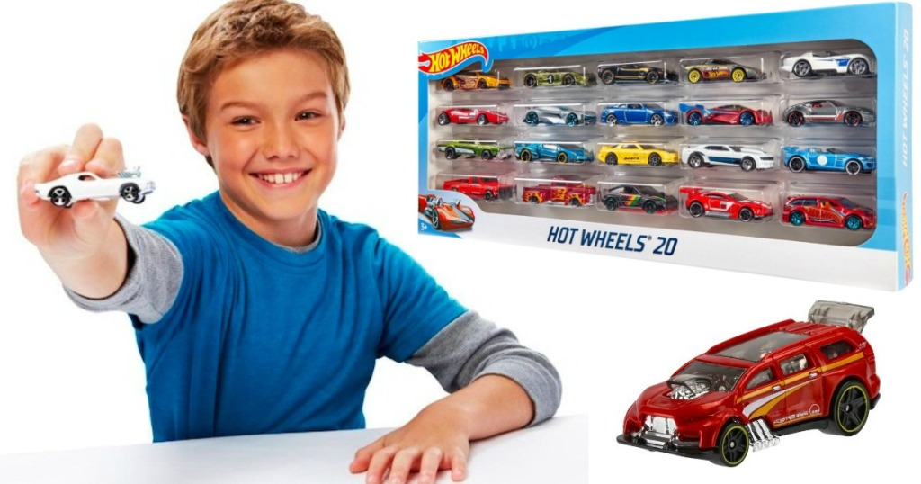 Boy with Hot Wheels 20 pack