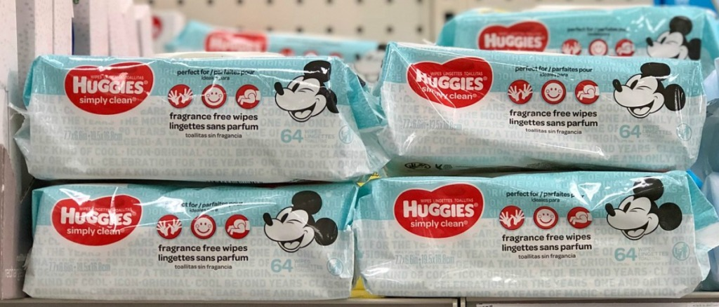Packages of Huggies fragrance-free wipes with Mickey Mouse on package on store shelf
