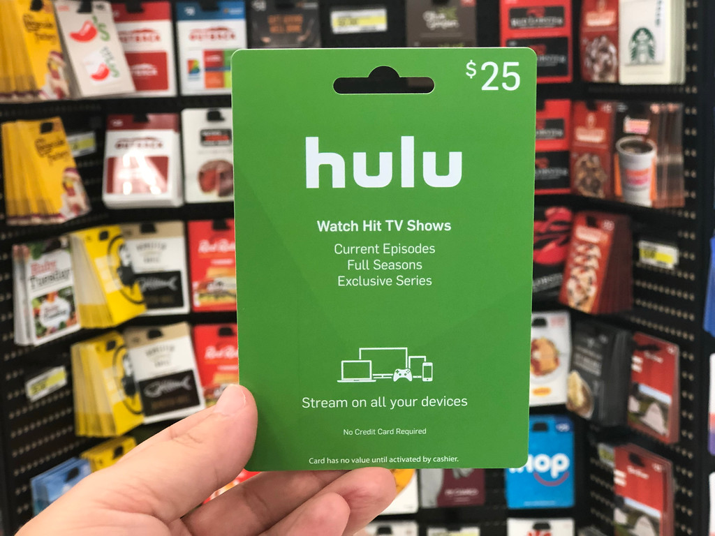 Hulu Gift Card being held by a man's hand