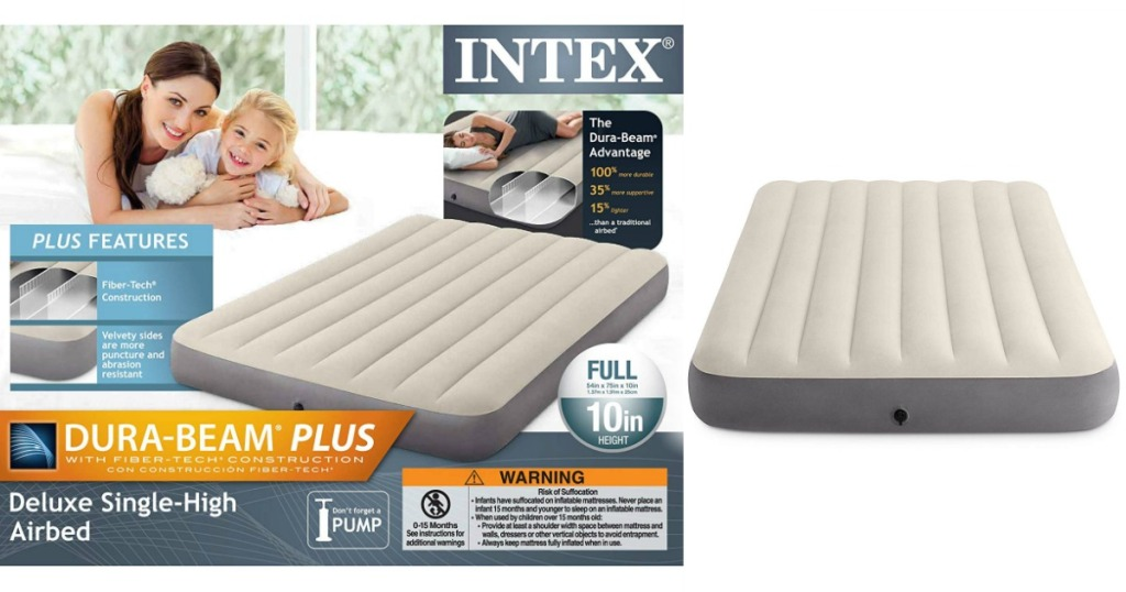 Intex Dura-Beam Deluxe Full-Sized Air Mattress box and mattress laying beside