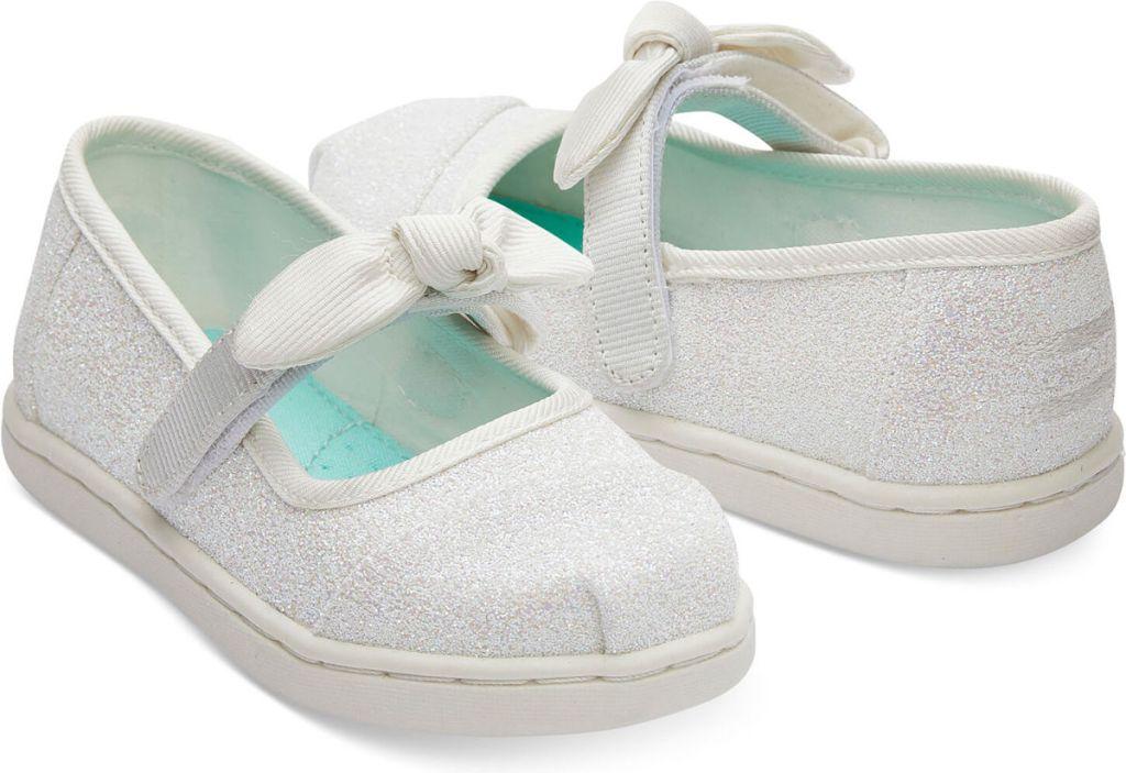 Ivory Glitter Tiny TOMS Mary Jane Flats