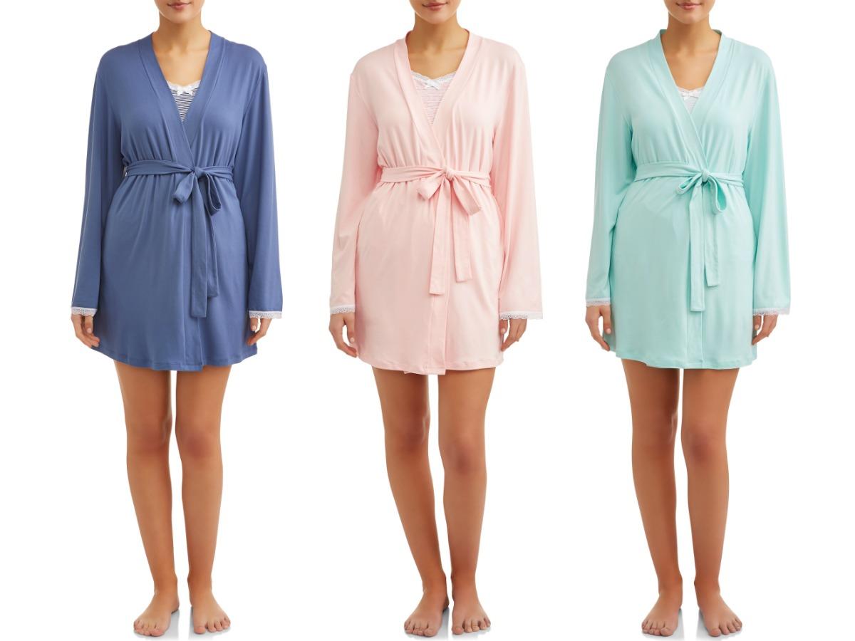 three women modeling JV Apparel 3-piece pajama sets