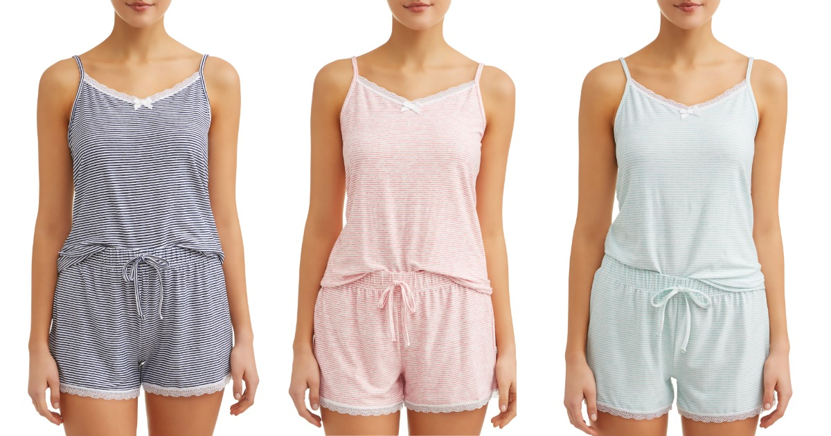 Three women modeling PJs with cami and shorts