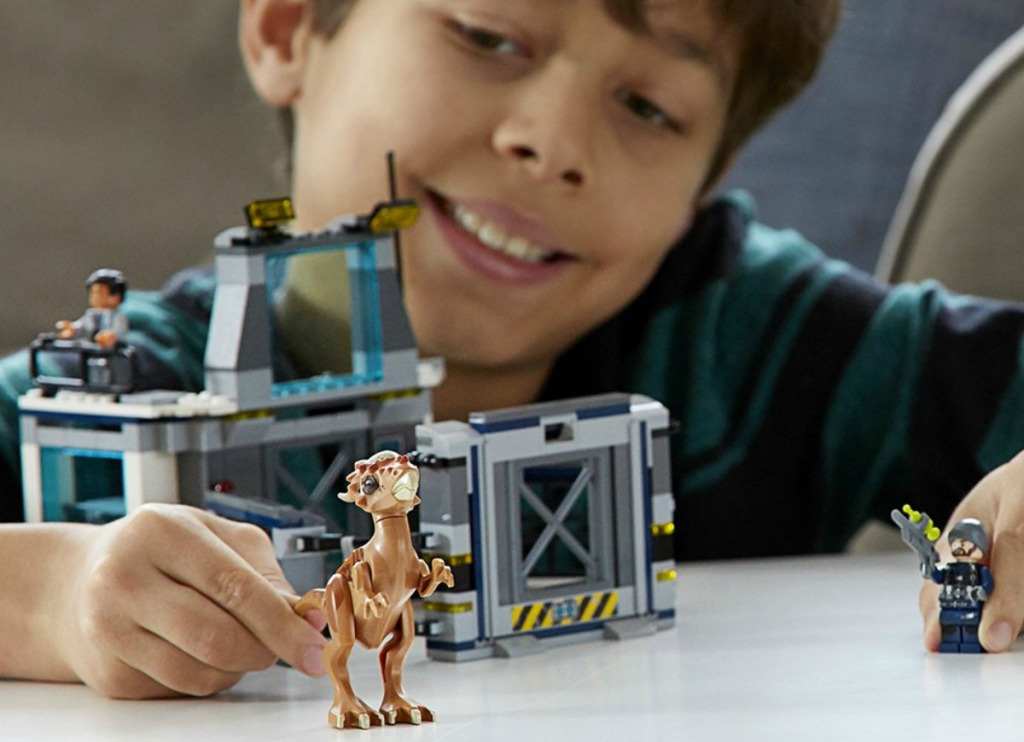 boy playing with dinosaur LEGO set