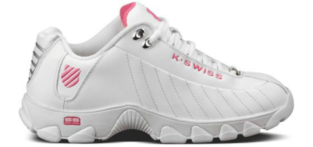 k-swiss white and pink shoes