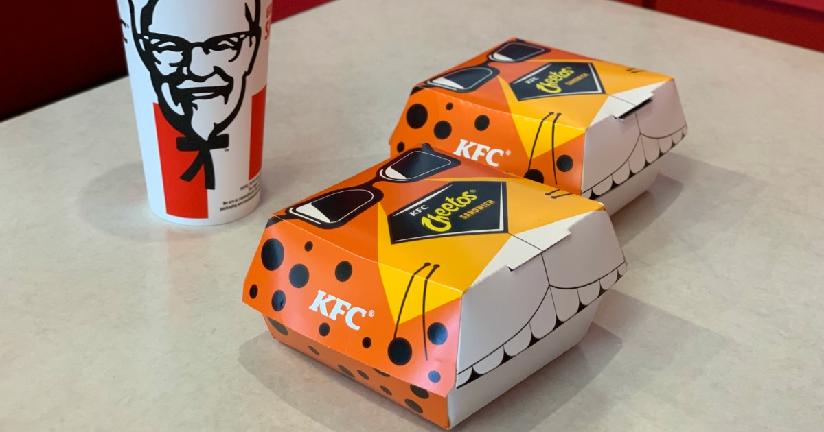 2 boxes of KFC Cheetos Sandwiches on table