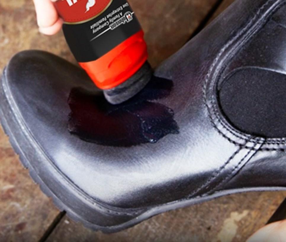 KIWI Shoe Shine being applied to shoes