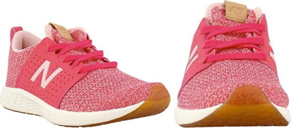 Pair of Pink New Balance Girls Shoes at different angles