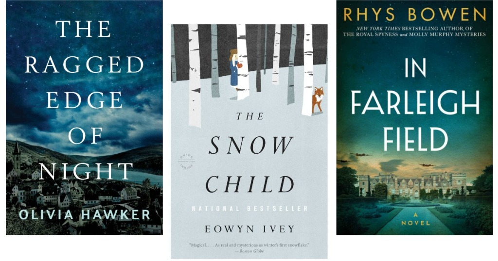 Kindle ebook jackets for Snow Child, Farleigh Field, and The Ragged Edge of Night