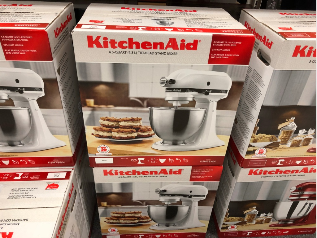 Kitchenaid 4.5 Quart White boxes stacked in kohl's