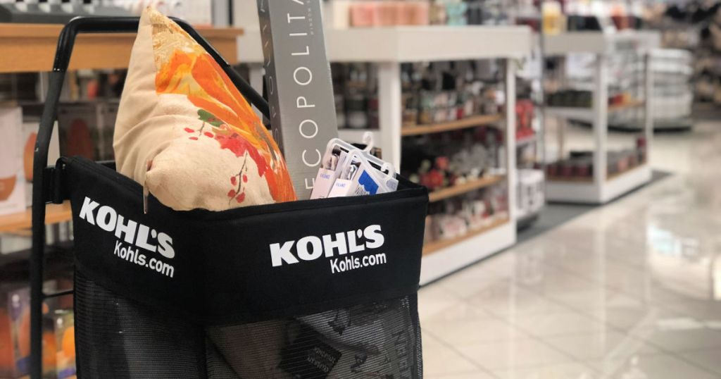 kohls cart with items inside of it in store