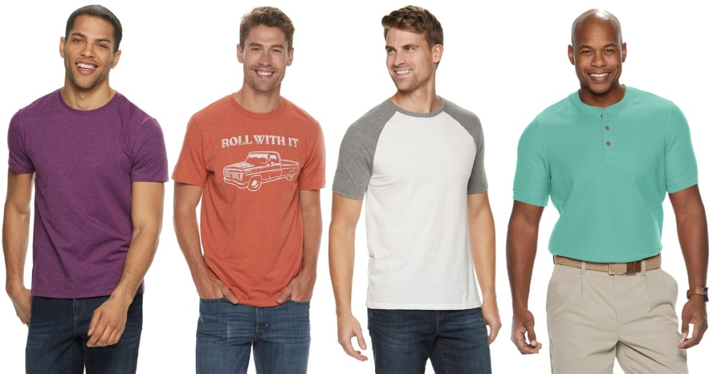 4 men wearing various shirts from kohls