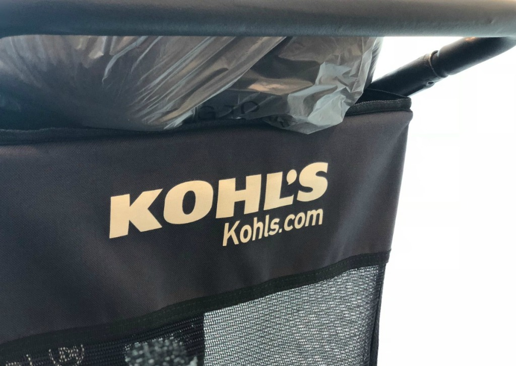 Kohl's shopping cart full of shopping bags