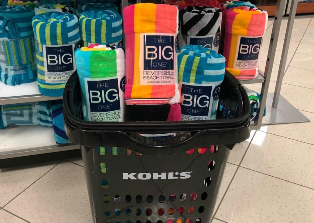 Variety of prints of Kohl's Beach Towels in store in basket