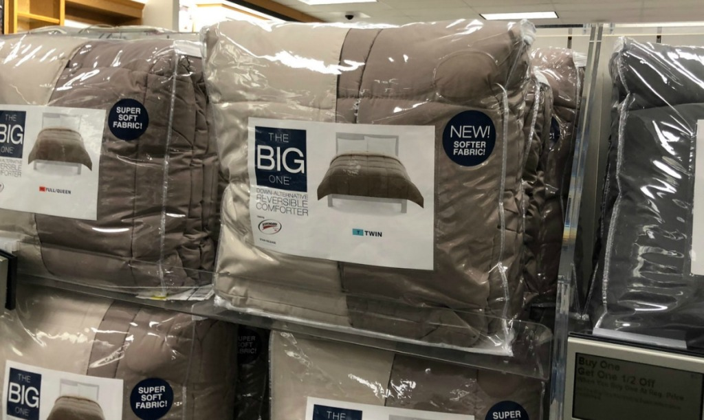 Large down alternative comforters in package in store display