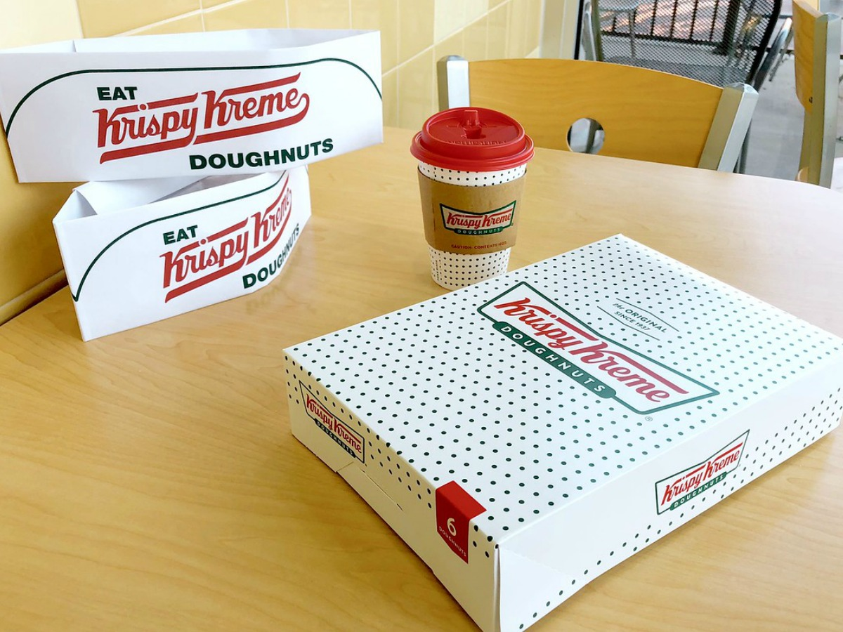 Krispy Kreme Box with Coffee and Hats