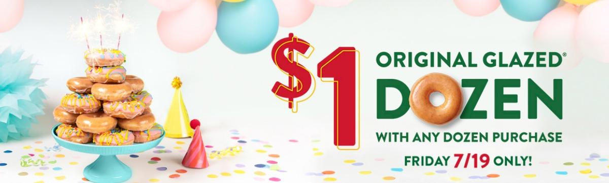 Krispy Kreme birthday banner $1 original glazed dozen offer