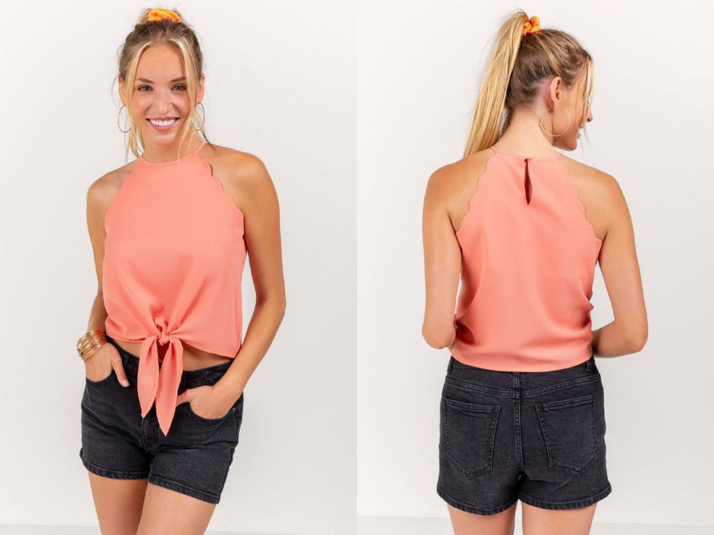 woman wearing Kristina Scalloped Tank Top in coral