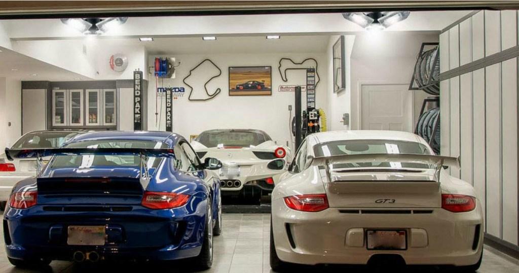 LED Adjustible Garage Lights in garage with cars