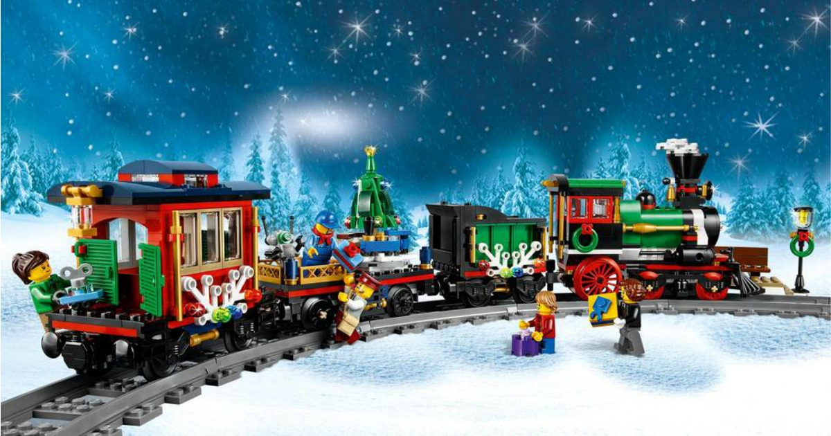 Lego Creators Holiday Train built with winter background