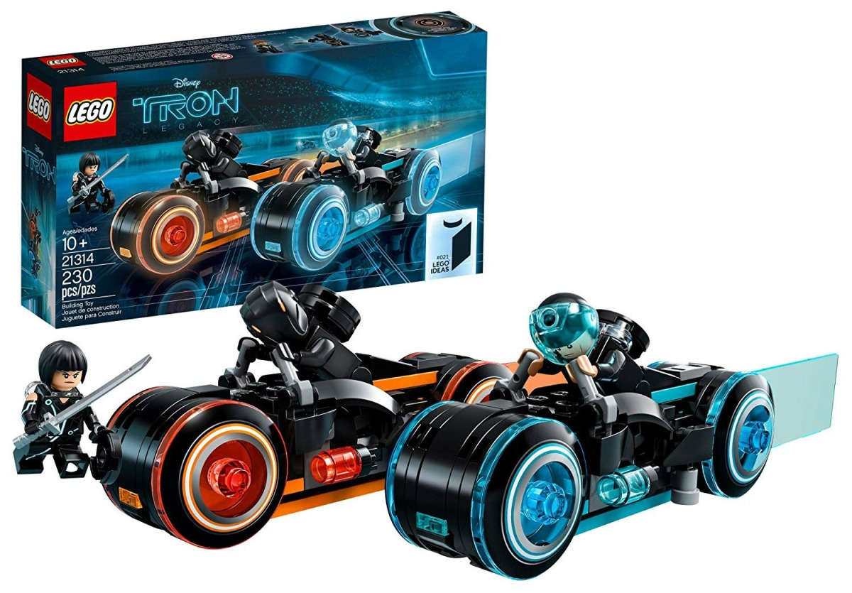 LEGO Ideas TRON Legacy set with two light cycles and minifigs