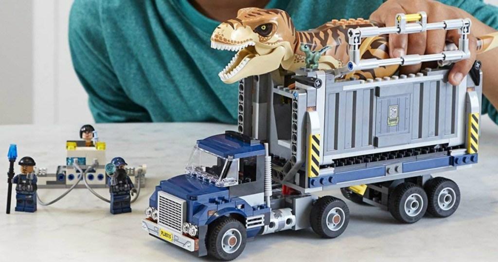 jurassic world LEGO set with truck and dinosaur