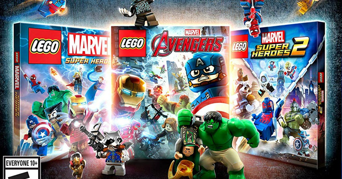 three LEGO Marvel video games with various characters playing around them