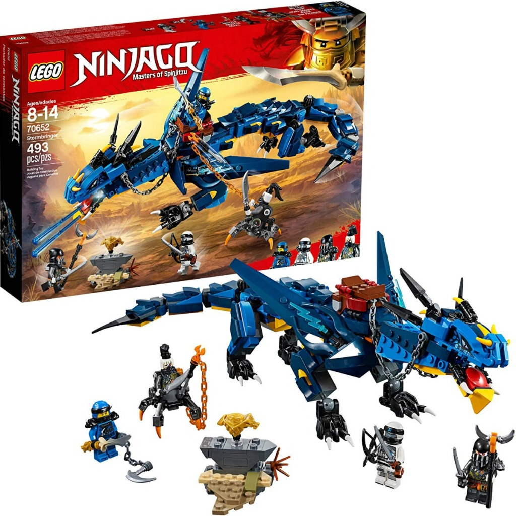 LEGO set with a large blue dragon