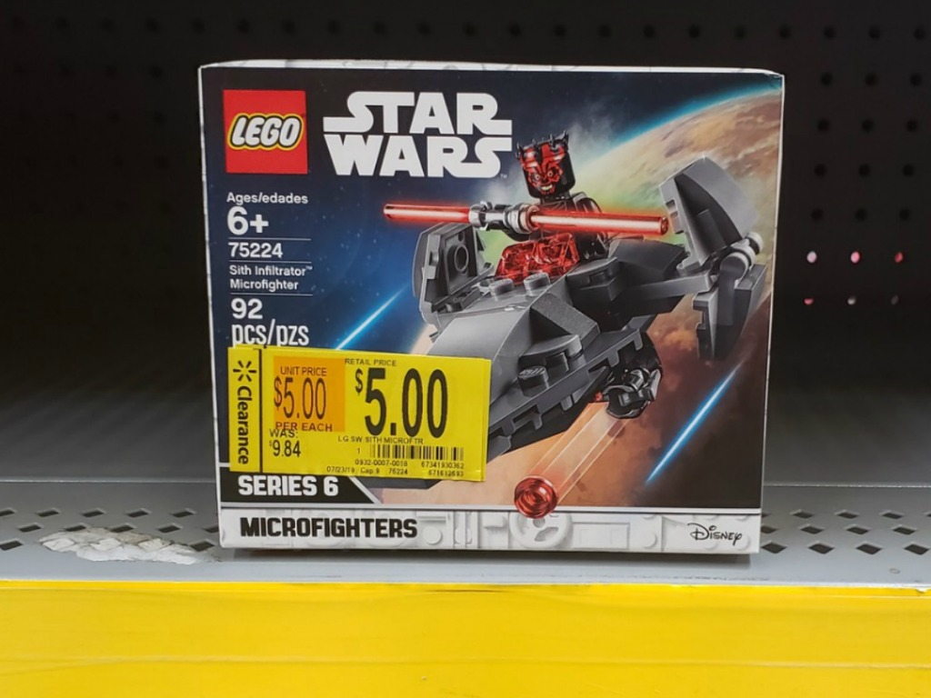lego box on store shelf with clearance tag
