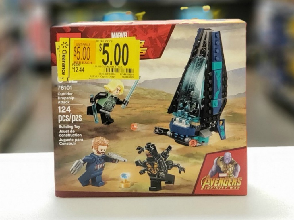 box of legos in store with clearance tag