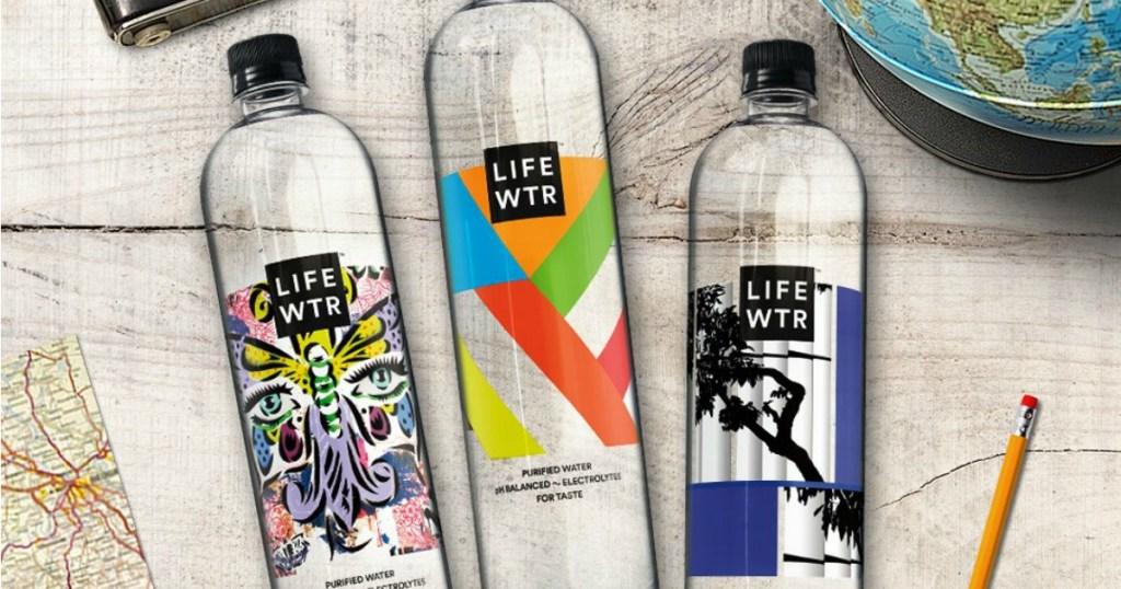 Three bottles of LIFEWTR