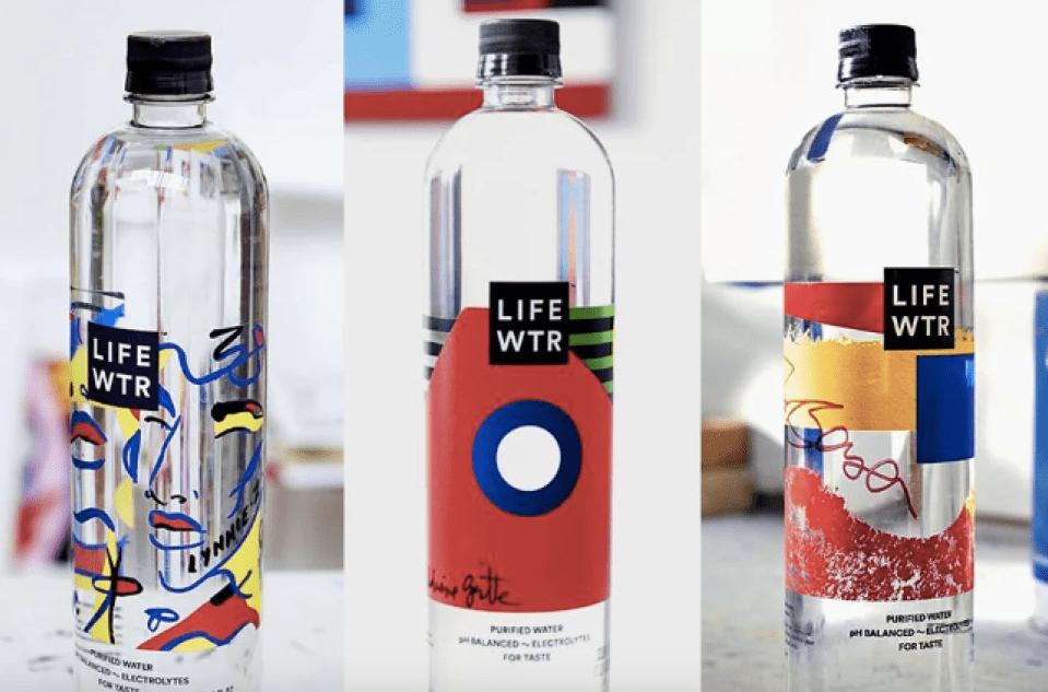 LIFEWTR Premium Water Bottles on Art Table