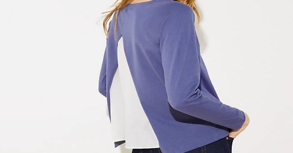 Split back, ladies sweatshirt. View from the back