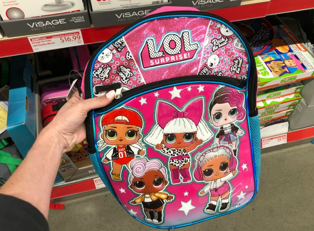 LOL Surprise-themed backpack in store at ALDI