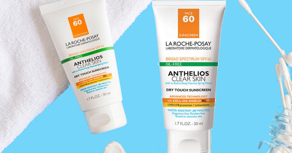 two bottles of La Roche-Posay Anthelios Clear Skin Oil-Free Sunscreen SPF 60 with towel and qtips